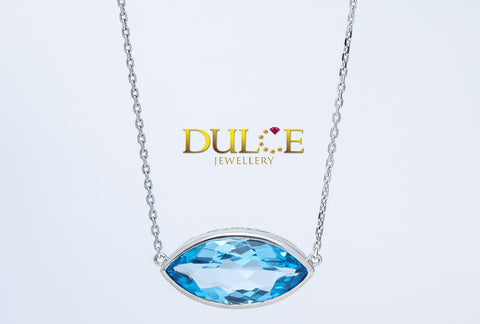 (Silver) Blue Topaz Necklace
