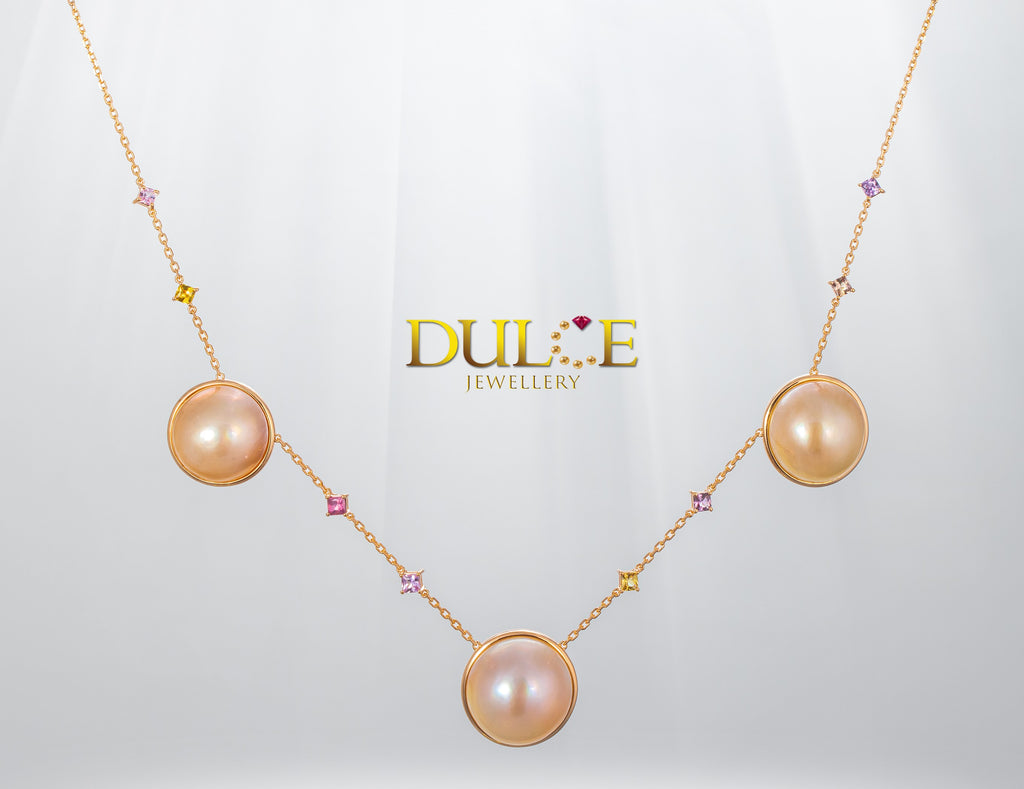 9K Gold Japan Mabe & Sapphire Necklace