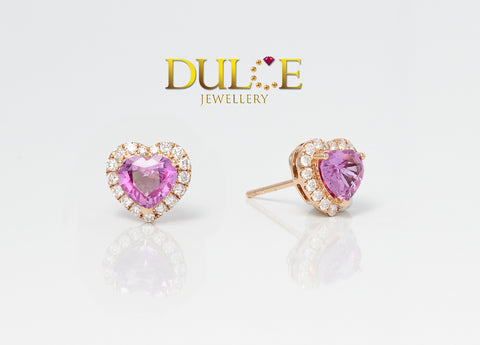 18K Gold Pink Sapphire Diamond Earrings(Pearls not included)