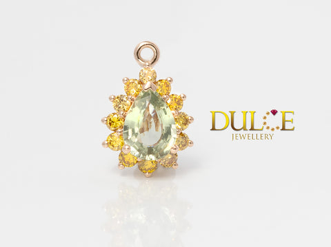 18K Gold Green Sapphire & Yellow Diamond Pendant