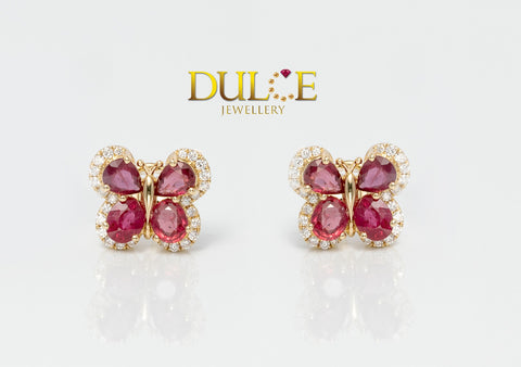 18K Gold Natural Ruby Diamond Earrings