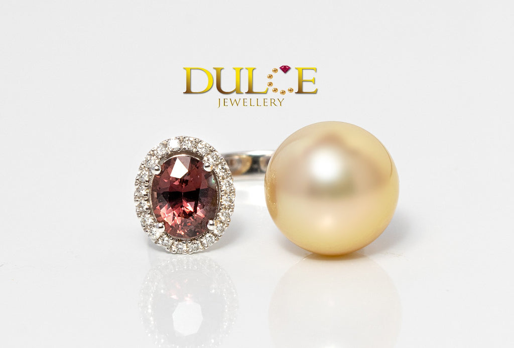 18K Gold Natural Sapphire & Southsea Pearl Diamond Ring
