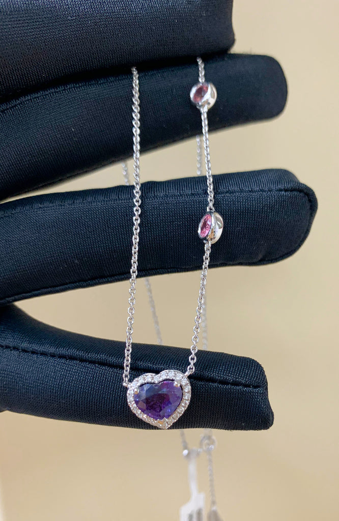 18K White Gold Diamond & Heart Shape Sapphire Necklace