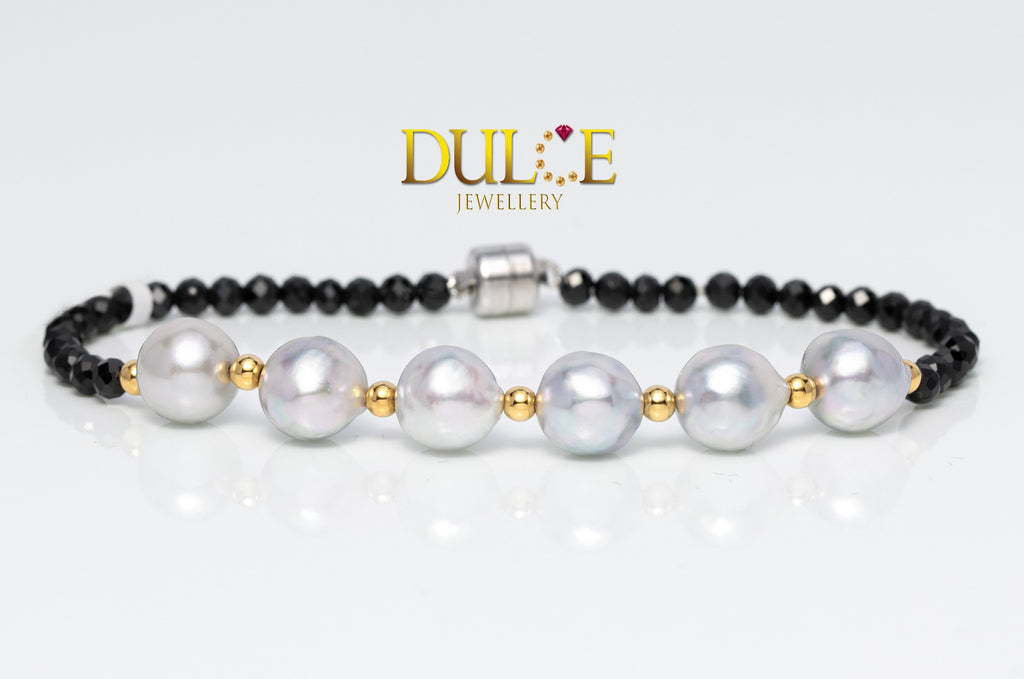 Silver Black Spinel / Japan Akoya Pearls Bracelet