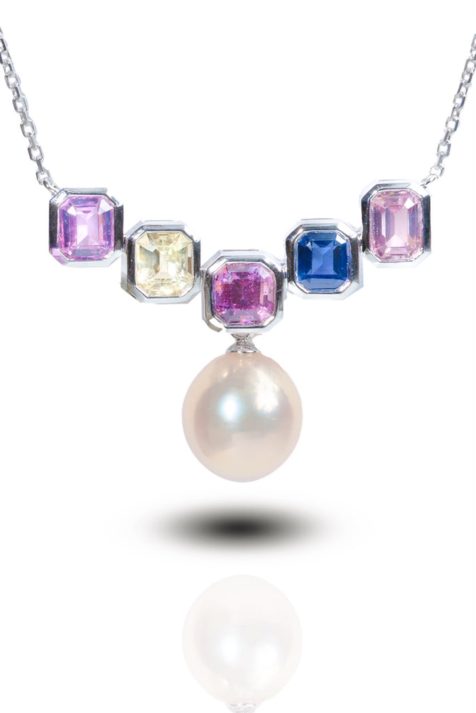 18K Gold Natural Sapphire Necklace (Pearl not included)