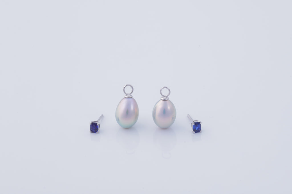 18K Gold Blue Sapphire Earrings (Pearls not included)