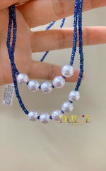 14K / 18K Gold Blue Sapphire & Japan Akoya Pearls Necklace