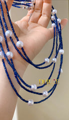 14K Gold Blue Sapphire & Japan Akoya Pearls Necklace