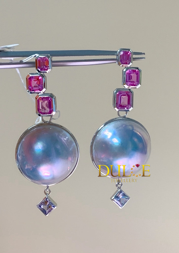 18K Pink Sapphire Earrings (Pearls Not Included)