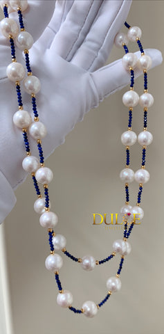 Silver Freshwater Pearls & Lapiz Beads Necklace