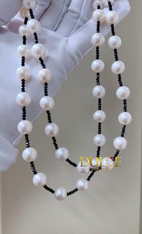 Silver Freshwater Pearl & Black Spinel Necklace