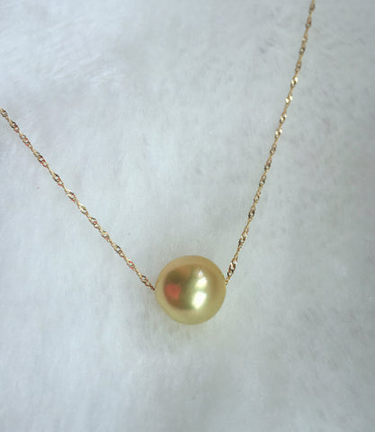One golden Pearl in 14K Yellow Gold Chain Necklace