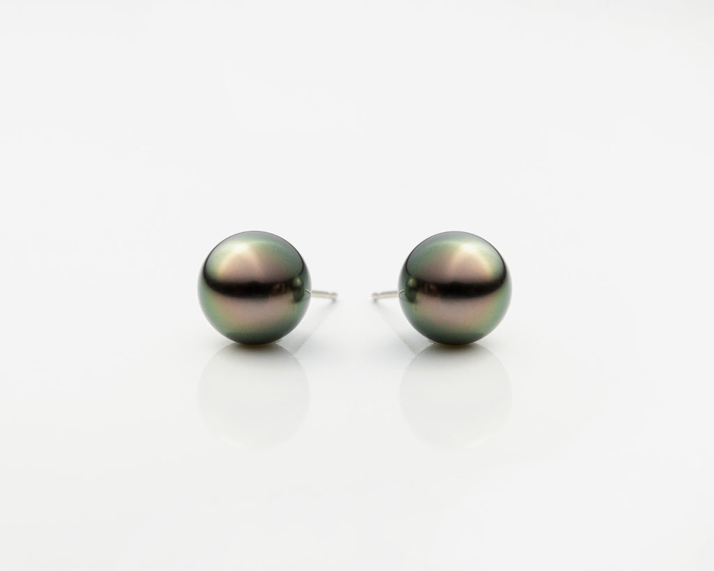 18K Gold Tahitian Round  Pearls Earrings AAA Quality