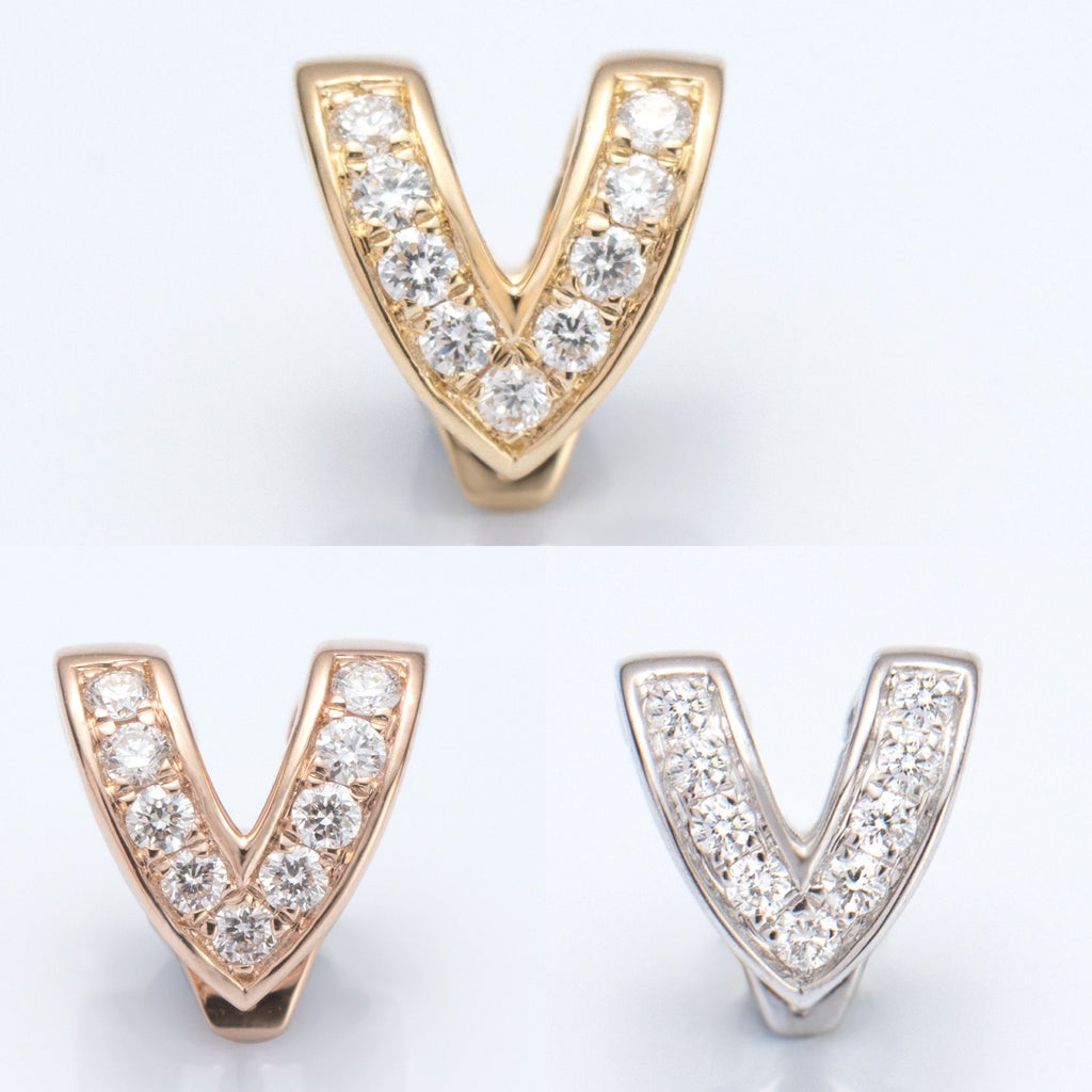 18K Gold Diamond V Shape Clasp (Pearl Not Included)