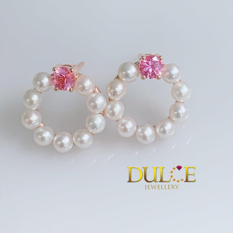 9K Gold Pink Sapphire & Freshwater Pearls Earrings