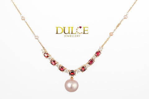 18K Rose Gold Natural Ruby & Diamond Necklace (Pearl not included)