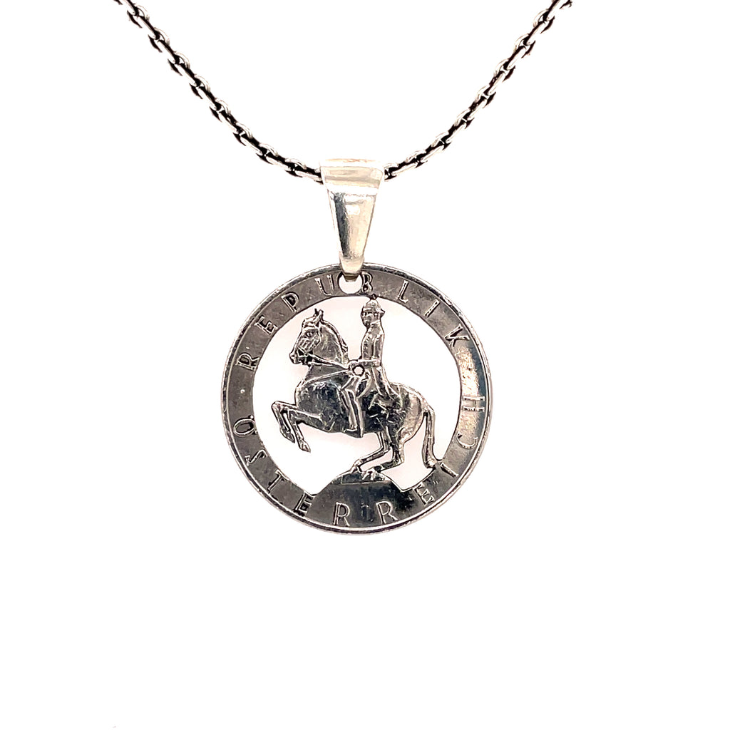 Spanish riding school coin necklace