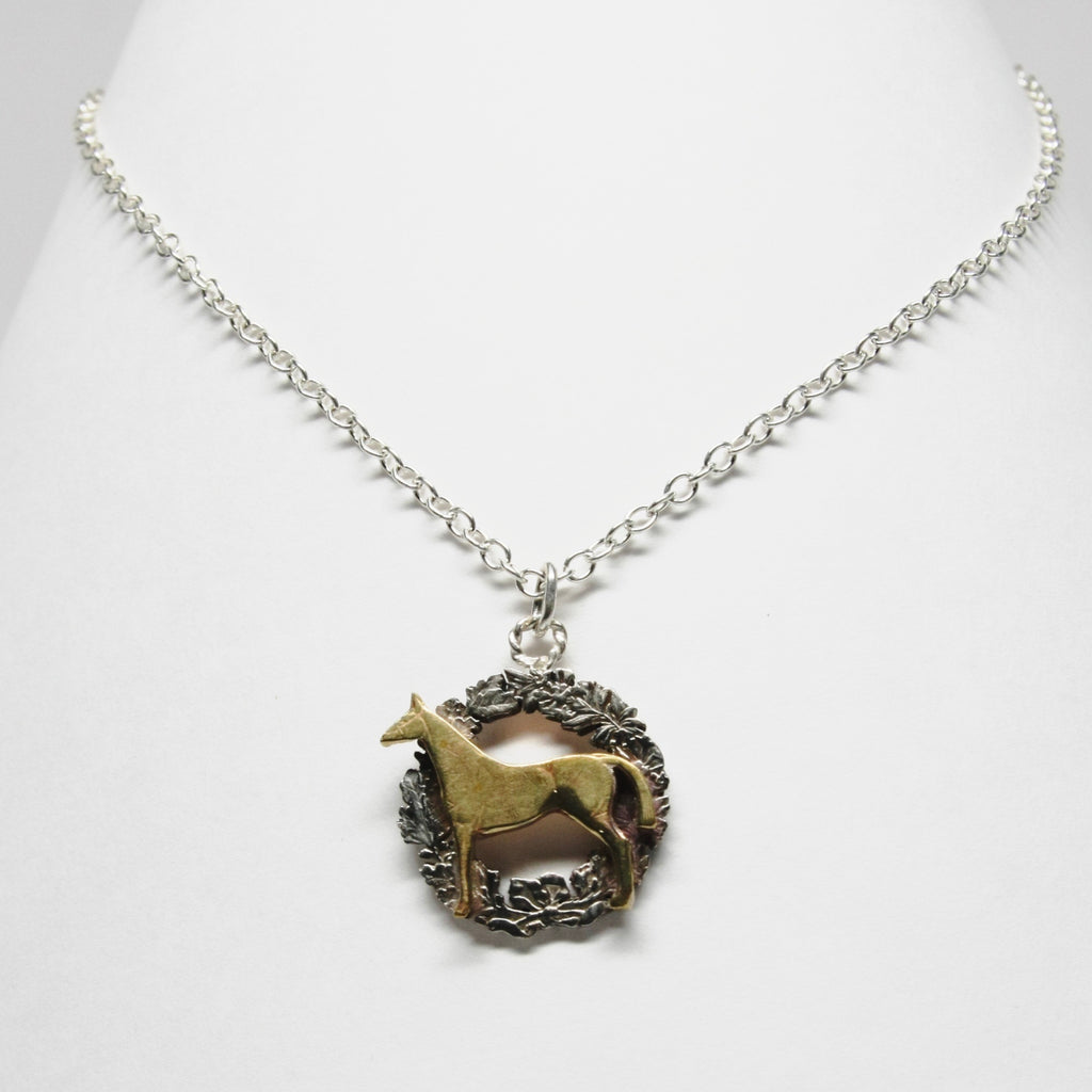 Horse coin cutout necklace with wreath