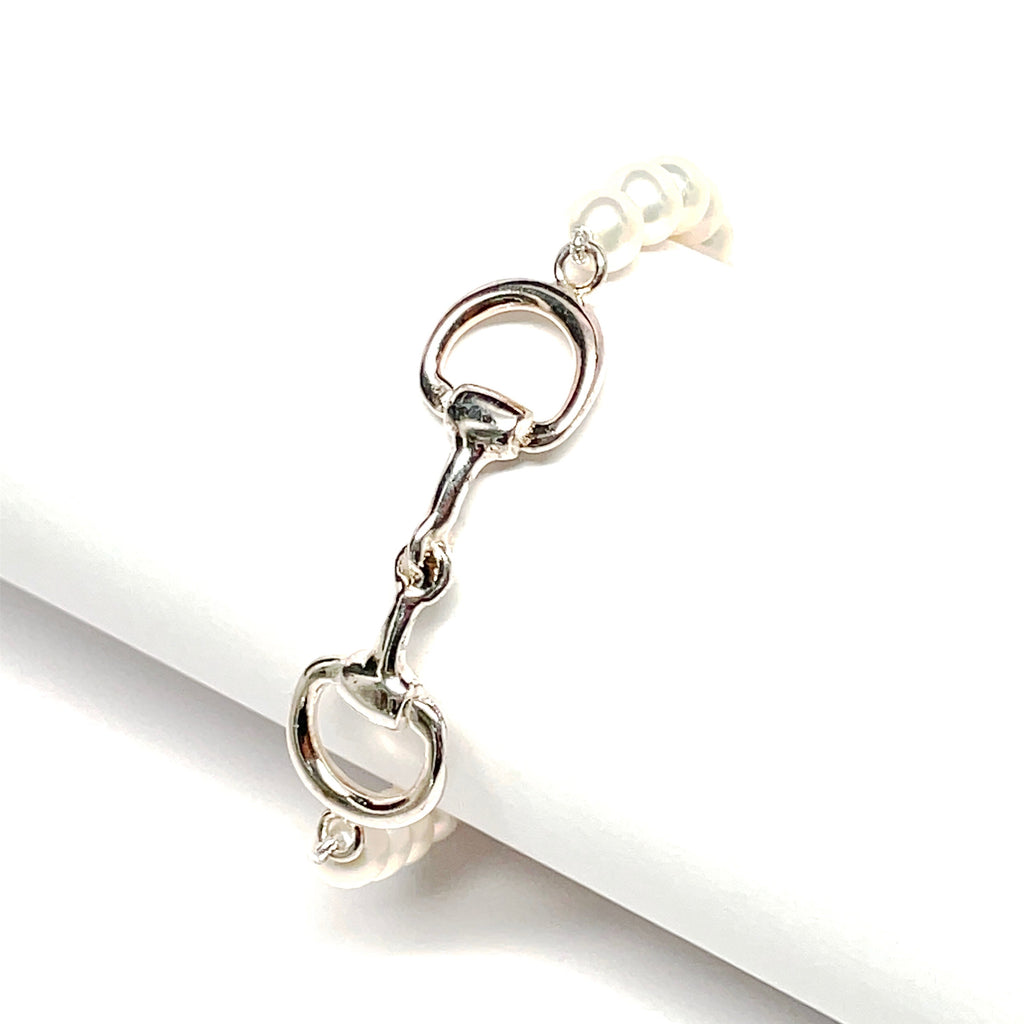 Pearl and sterling silver snaffle bit bracelet
