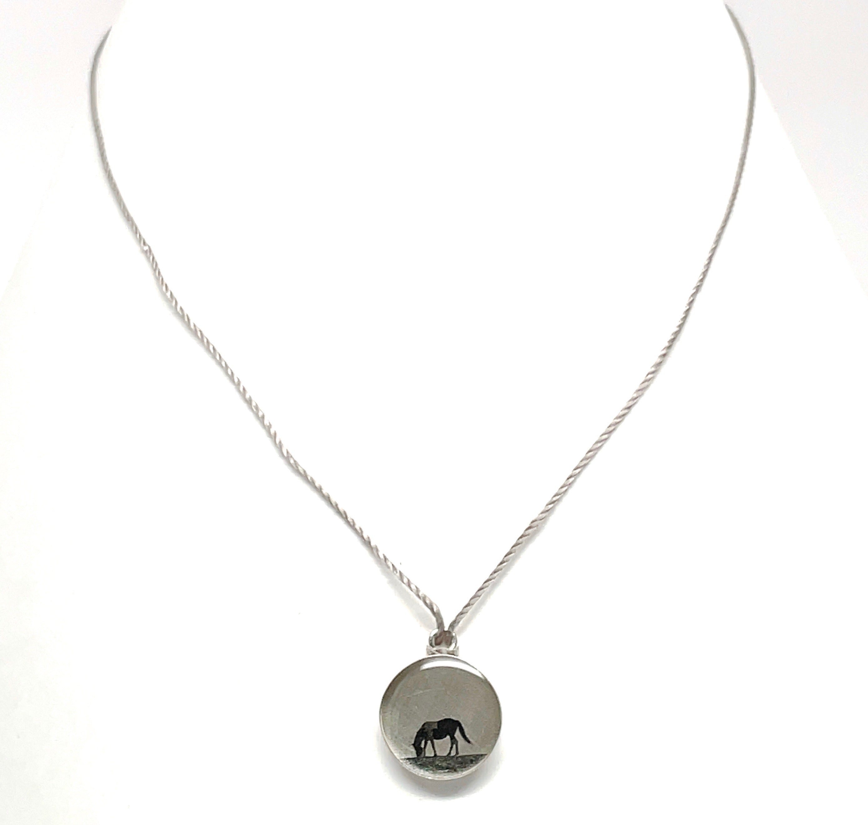 Horse scene equestrian necklace