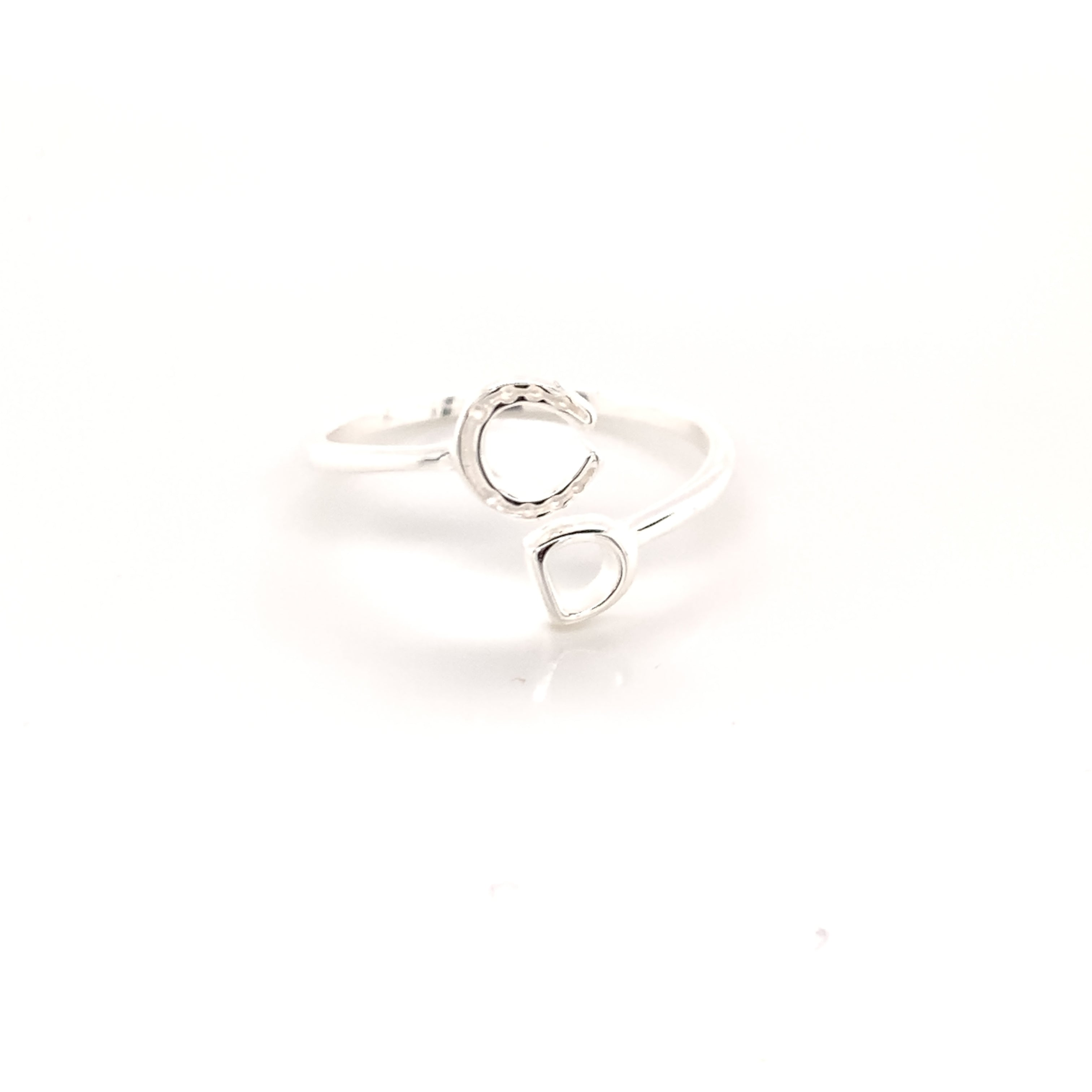 Horseshoe and stirrup equestrian ring