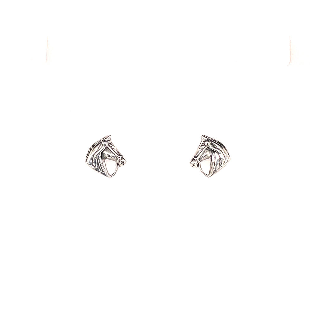 Equestrian horse head earrings silver