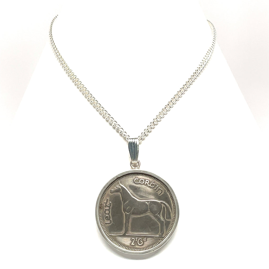 Equestrian coin necklace sterling silver