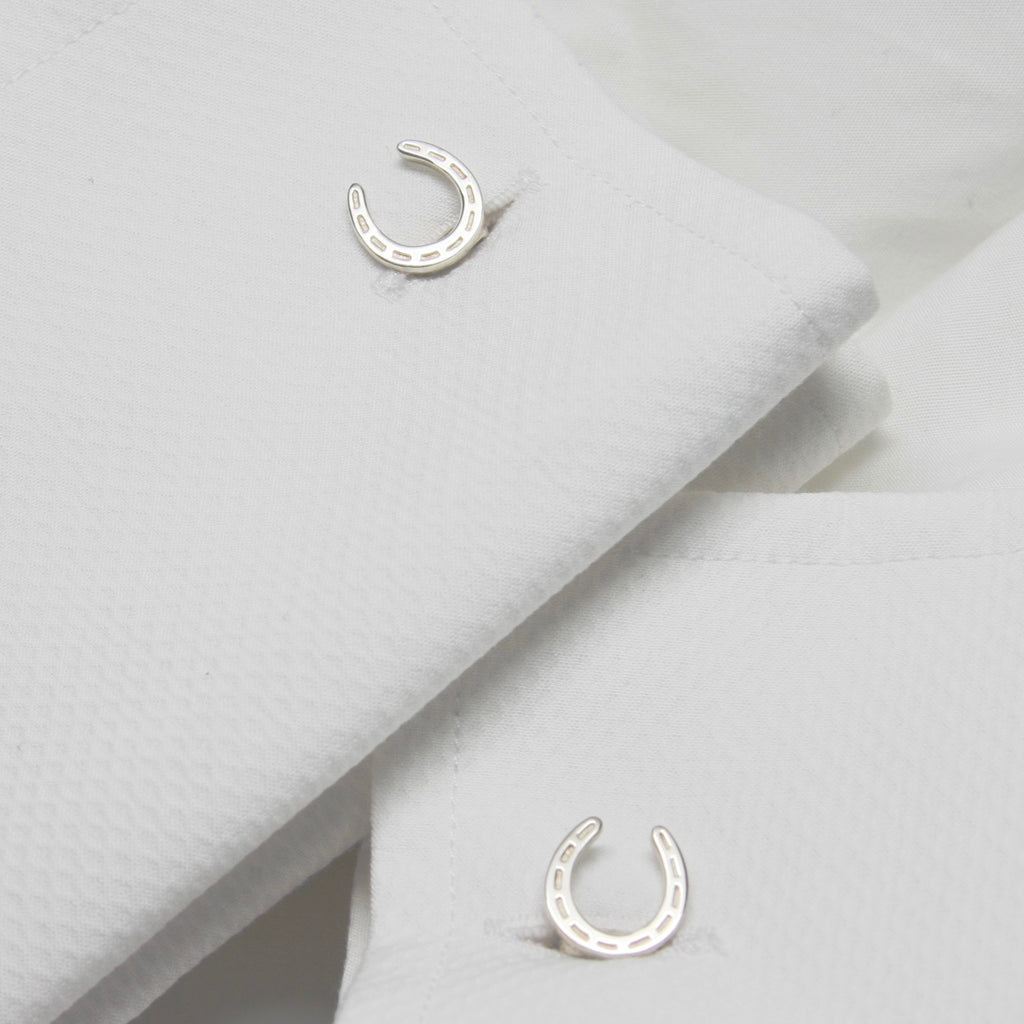 Sterling silver lucky horseshoe cuff links