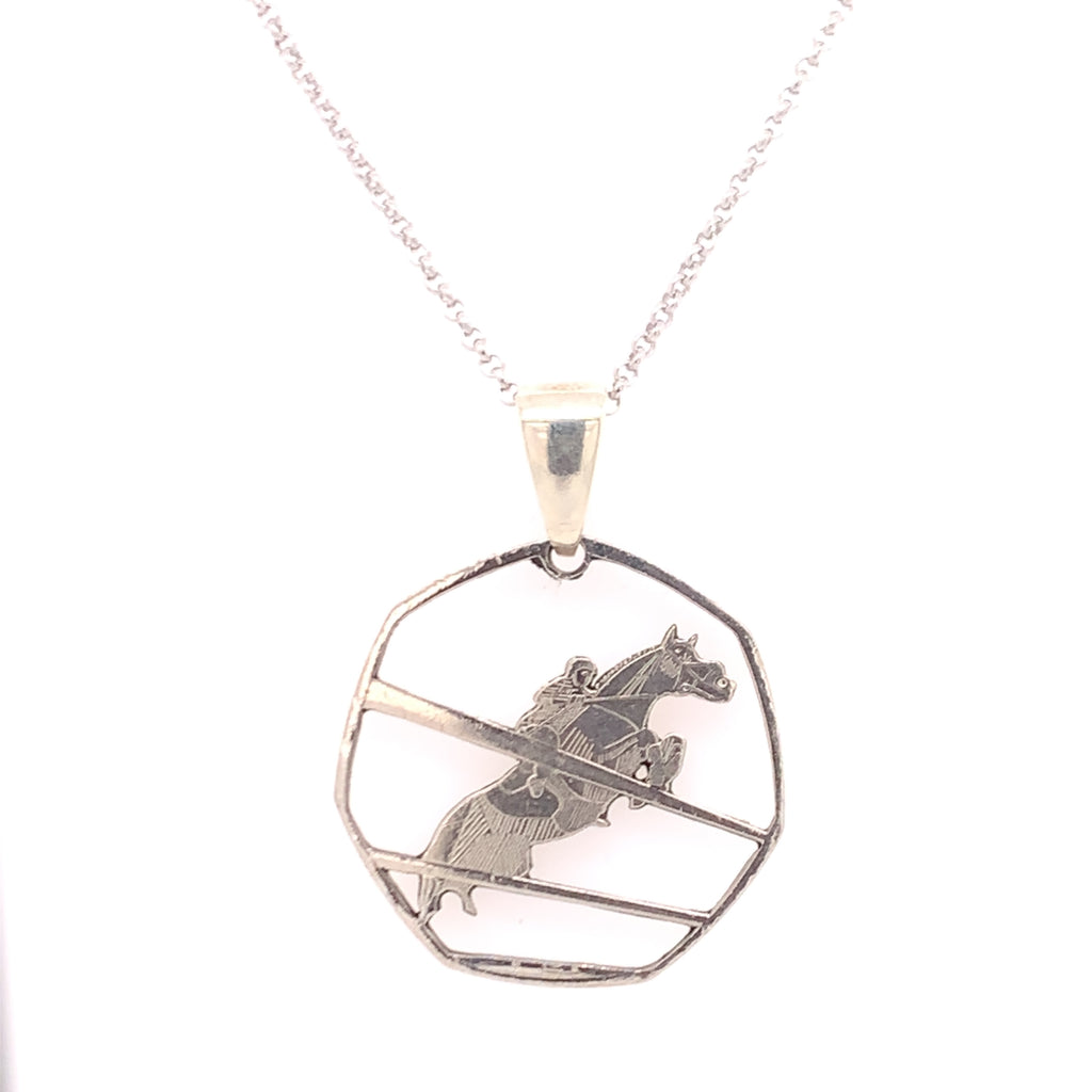 Horse coin necklace on sterling silver chain