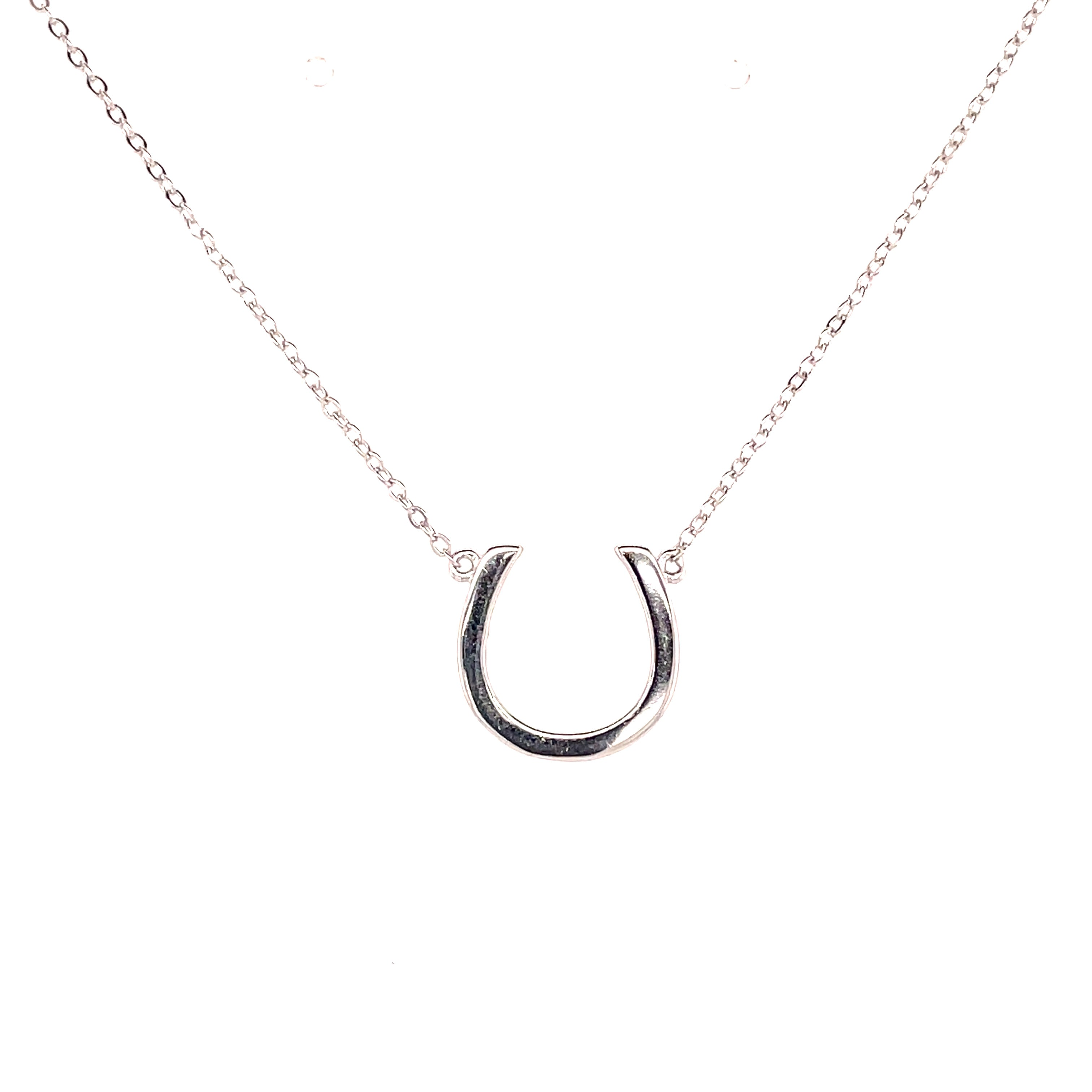 Simple equestrian horseshoe necklace sterling silver