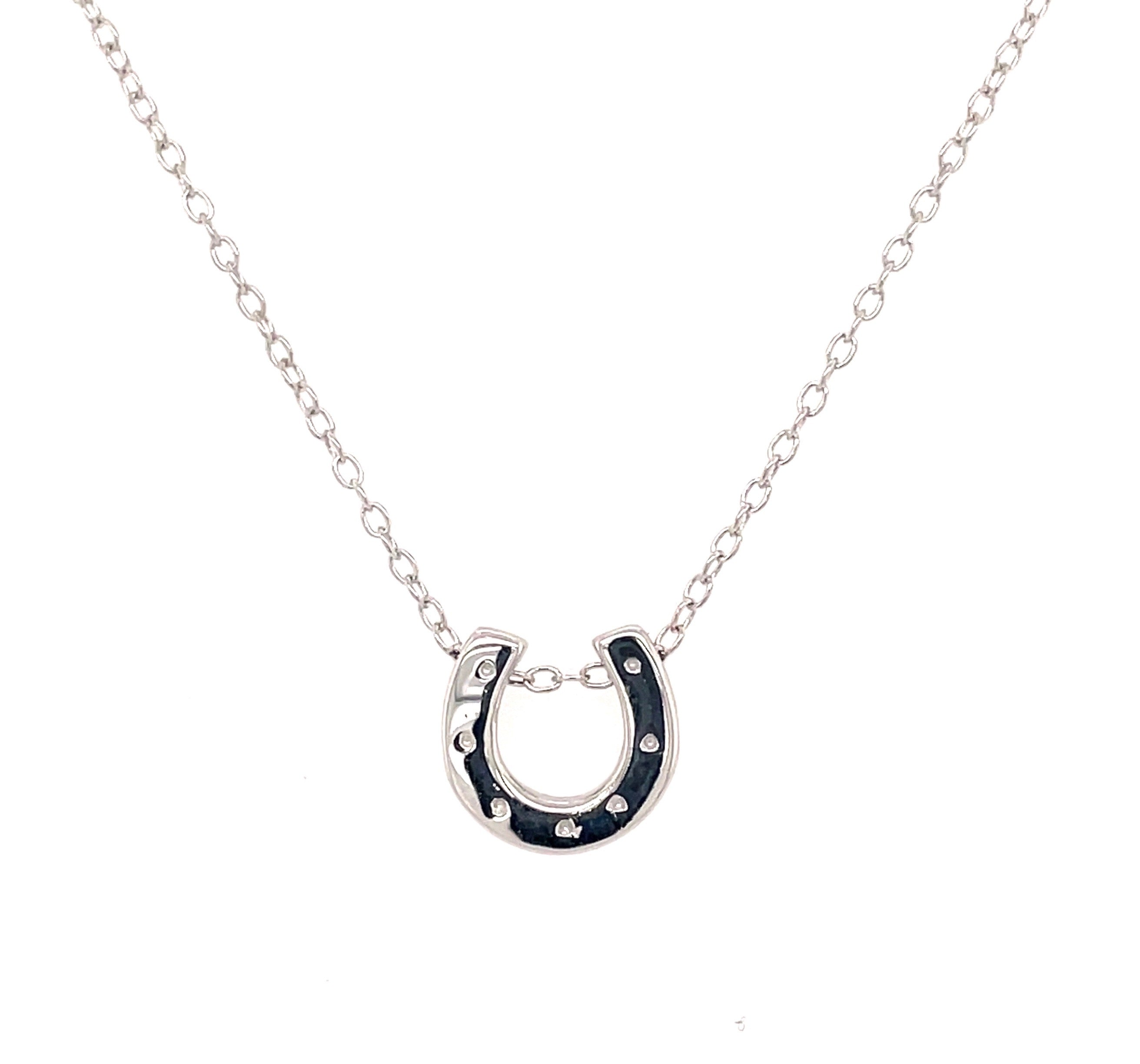 Horseshoe necklace with nail holes sterling silver