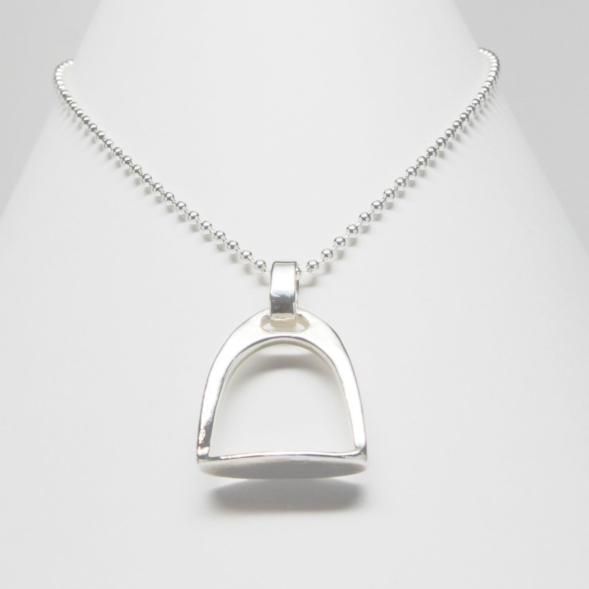 Equestrian classic sterling silver stirrup necklace