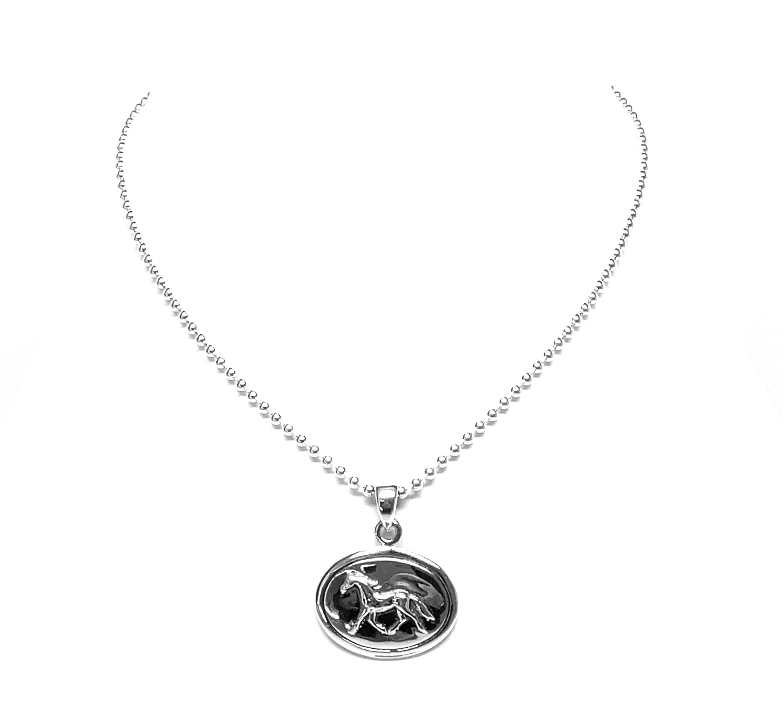 trotting horse silver necklace
