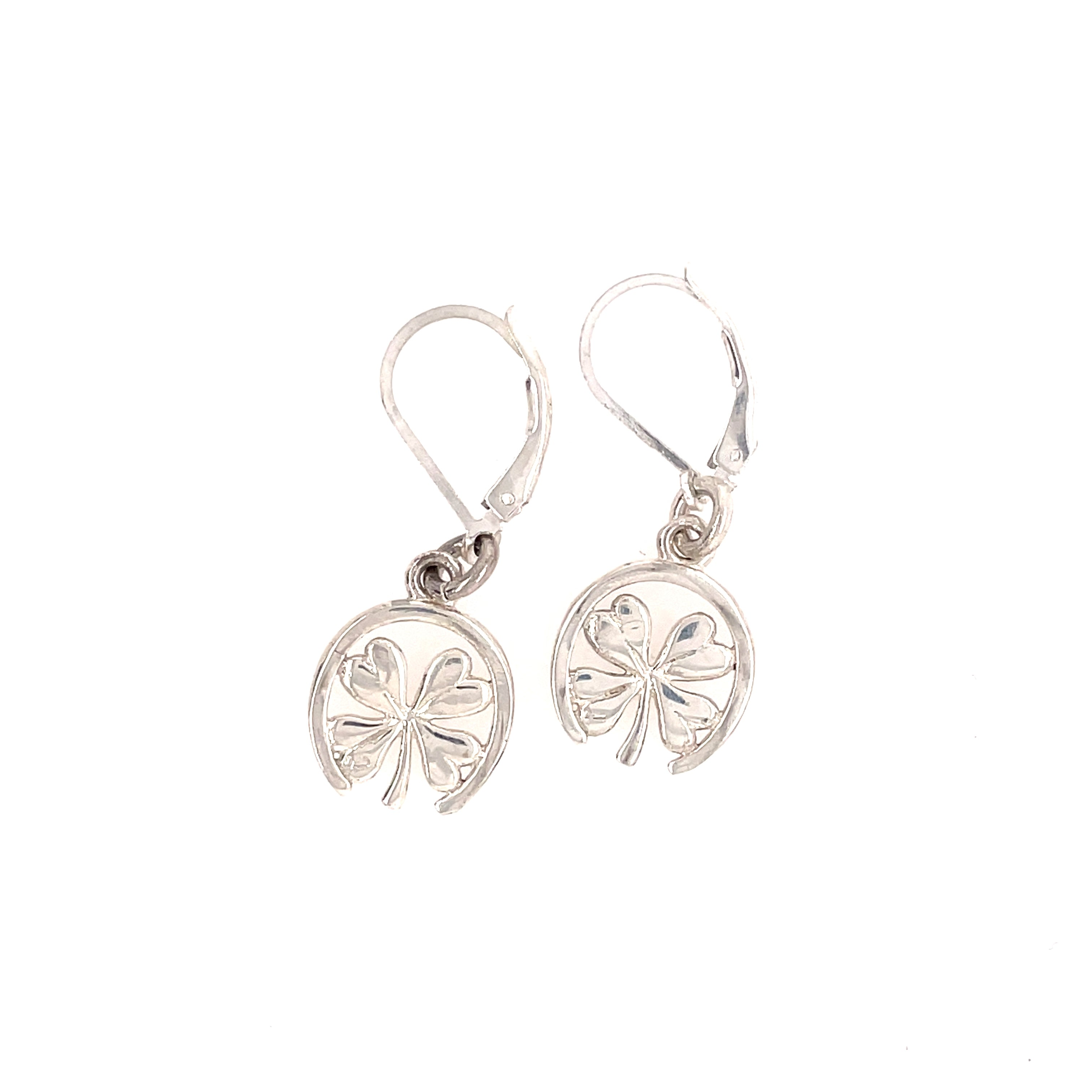 Hanging horseshoe and clover sterling earrings