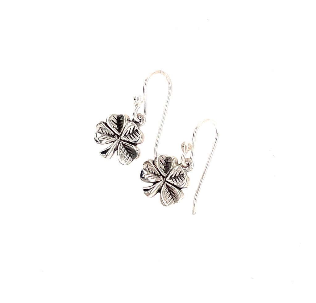 Lucky four leaf clover silver earrings