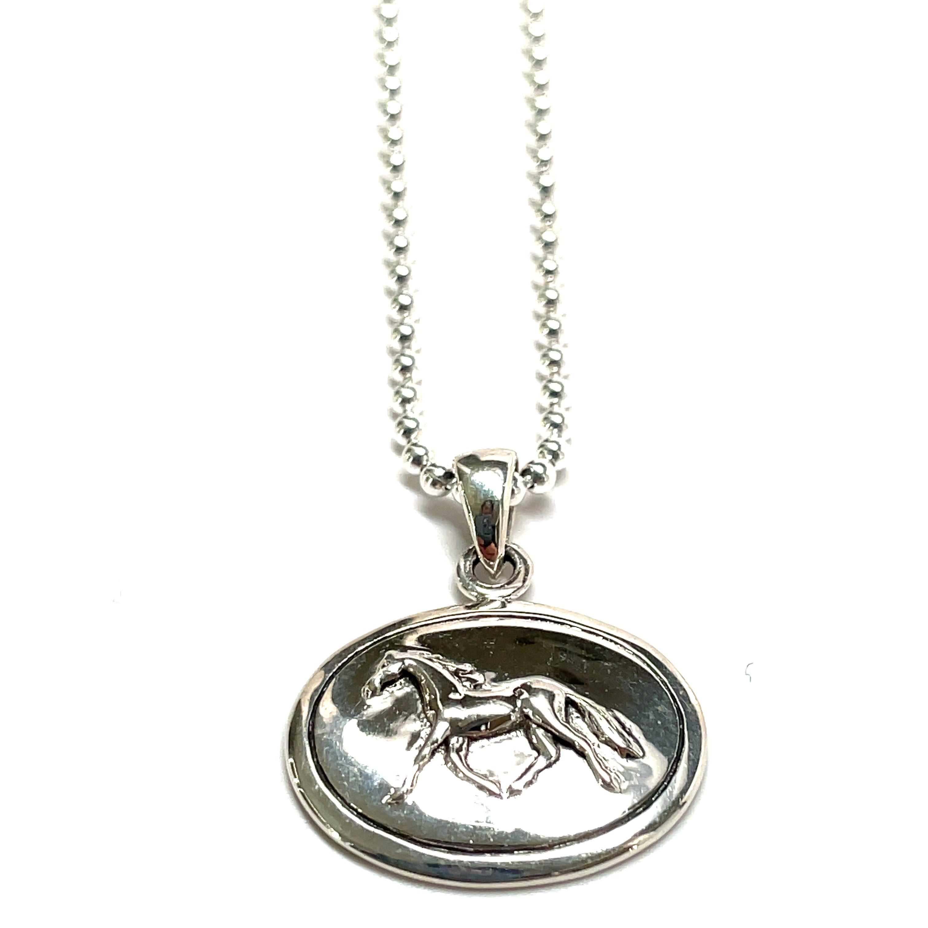 dancing horse silver necklace