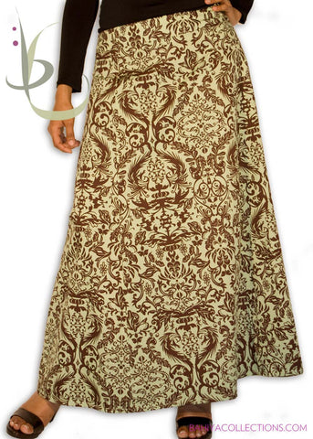 Chocolate Print Long Skirt - Green