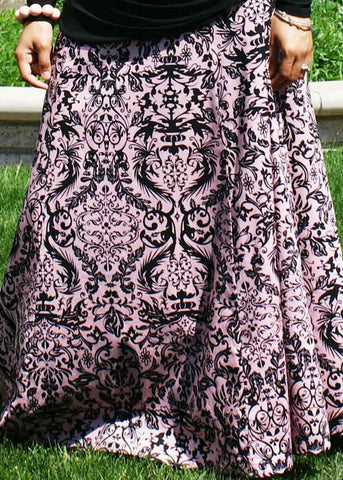 Black Print Long Skirt - Pink