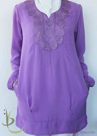 Sheba Long Chiffon Embroidered Tunic