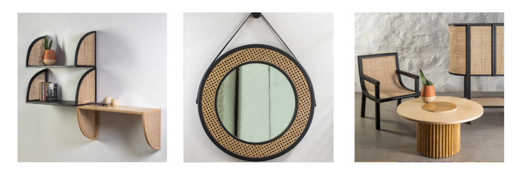 Products of Kam Ce Kam, the sola mirror, mera chair and shelves are shown.