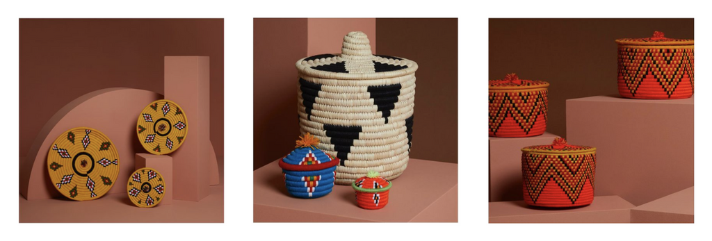 Zan artefacts colourful baskets in red, yellow, blue and neutral tones
