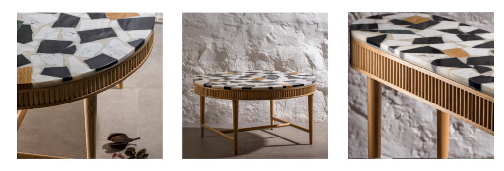 Terrazo tops are made from reused marble.