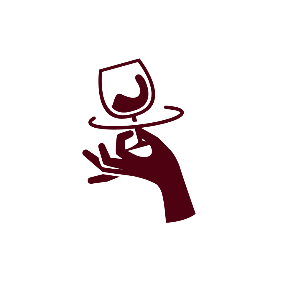 The silhouette of a hand swirling a wine glass.