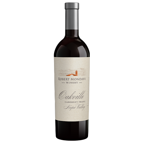 A bottle of 2016 Robert Mondavi Winery Cabernet Franc Oakville Napa Valley on a white background.
