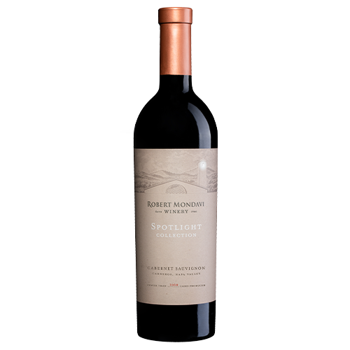 A bottle of 2017 Robert Mondavi Winery Cabernet Sauvignon Carneros on a white background.