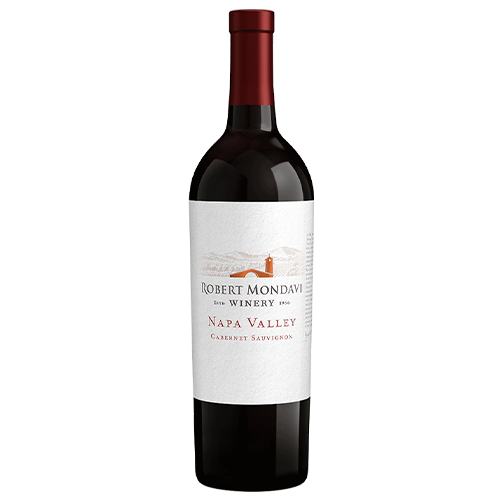 A bottle of 2018 Robert Mondavi Winery Cabernet Sauvignon Napa Valley on a white background.