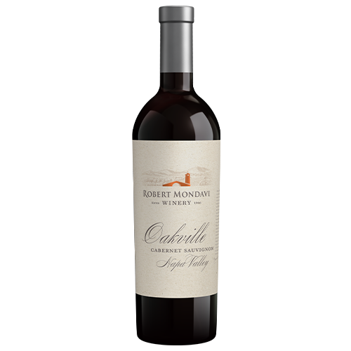 A bottle of 2017 Robert Mondavi Winery Cabernet Sauvignon Oakville Napa Valley on a white background.