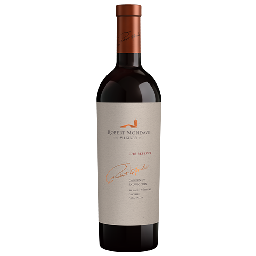 A bottle of 2015 Robert Mondavi Winery Reserve To Kalon Vineyard Cabernet Sauvignon Napa Valley on a white background.