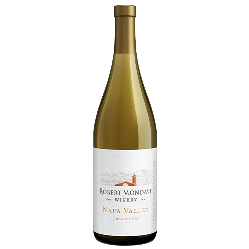 A bottle of 2018 Robert Mondavi Winery Chardonnay Napa Valley on a white background.