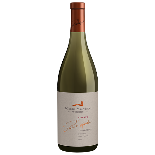 A bottle of 2018 Robert Mondavi Winery Reserve Chardonnay Carneros Napa Valley on a white background.